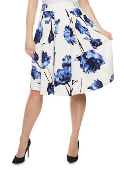 Plus Size Floral Pleated Skater Skirt - 3962069395011