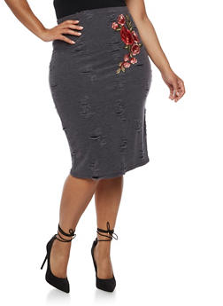 Plus Size Distressed Knit Skirt with Floral Applique - 3962072241555