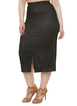 Plus Size Stretch Denim Skirt with Slits - 3962072310145