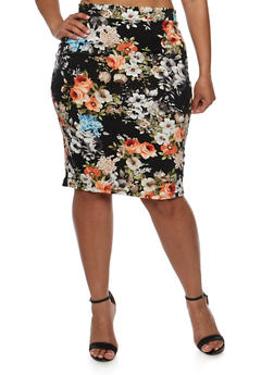 Plus Size Floral Midi Pencil Skirt - 3962074011467