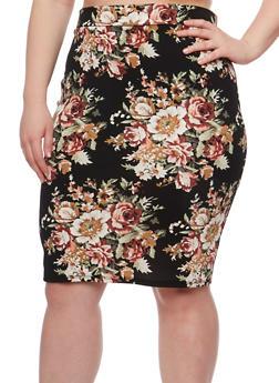 Plus Size Floral Midi Pencil Skirt - 3962074011467