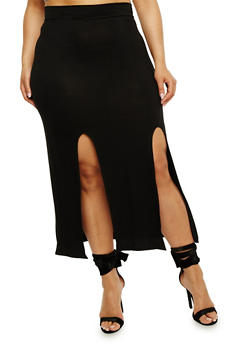 Plus Size Double Slit Maxi Skirt - 3962074011468