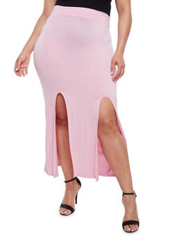 Plus Size Double Slit Maxi Skirt - ROSE - 3962074011468