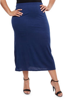 Plus Size Solid Maxi Skirt - 3962074011469