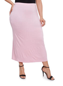 Plus Size Solid Maxi Skirt - ROSE - 3962074011469
