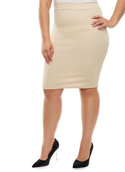Plus Size Textured Knit Pencil Skirt - 3962074011470