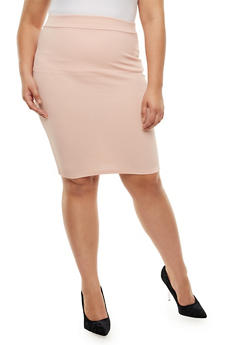 Plus Size Textured Knit Pencil Skirt - 3962074011470