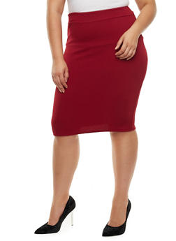 Plus Size Textured Knit Pencil Skirt - BURGUNDY - 3962074011470