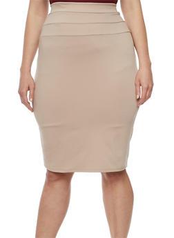 Plus Size Stitched Waist Pencil Skirt - 3962074011474