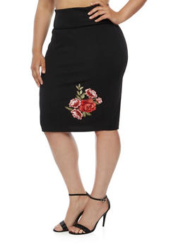Plus Size Embroidered Crepe Knit Pencil Skirt - 3962074011476
