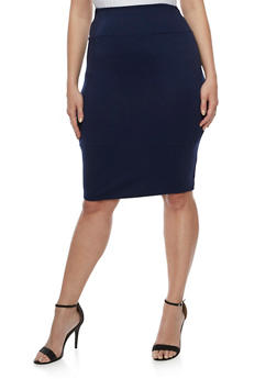 Plus Size Solid Pencil Skirt - 3962074011478