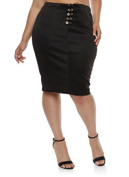 Plus Size Lace Up Midi Skirt - BLACK - 3962074011479