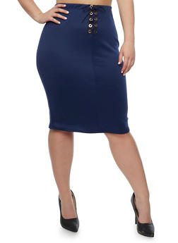 Plus Size Lace Up Midi Skirt - NAVY - 3962074011479