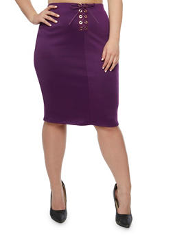 Plus Size Lace Up Midi Skirt - PLUM - 3962074011479