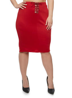 Plus Size Lace Up Midi Skirt - BURGUNDY - 3962074011479