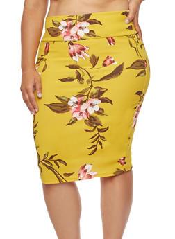 Plus Size Crepe Knit Floral Pencil Skirt - 3962074011500