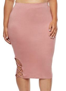 Plus Size Caged Slit Pencil Skirt - MAUVE - 3962074016781