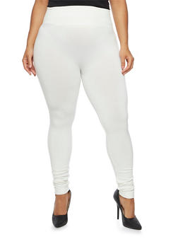 Plus Size High Waisted Leggings with Fleece Lining - 3969001440062