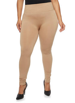 Plus Size Fleece High Waisted Leggings - 3969001440062