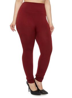 Plus Size Fleece High Waisted Leggings - 3969001440062