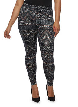 Plus Size Abstract Zig Zag Print Leggings - 3969001440111
