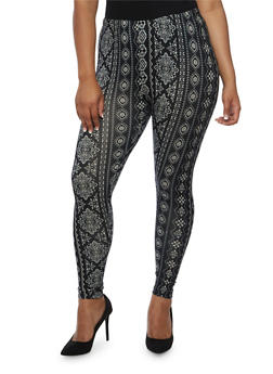 Plus Size Printed Leggings - 3969001440112