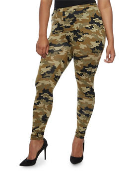 Plus Size Camo Print Leggings - 3969001440113
