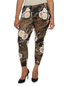 Plus Size Floral Camo Print Leggings - 3969001440114