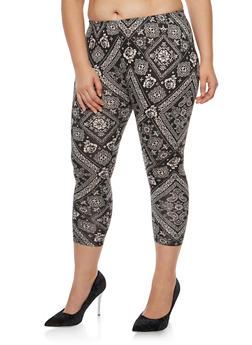 Plus Size Bandana Print Cropped Leggings - 3969001440116