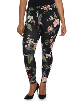 Plus Size Floral Print Leggings - 3969001441111