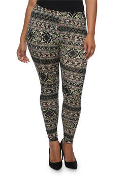 Plus Size Abstract Elephant Print Leggings - 3969001441114