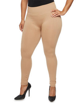 Plus Size Leggings with Geometric Knit - 3969001441164