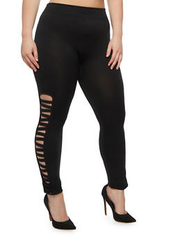 Plus Size Lattice Side Leggings - 3969001441282