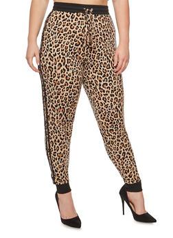 Plus Size Leopard Print Joggers - 3969001441320
