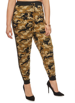 Plus Size Camo Athletic Striped Joggers - 3969001441322