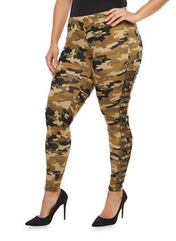 Plus Size Camo Caged Mesh Insert Leggings - 3969001441335
