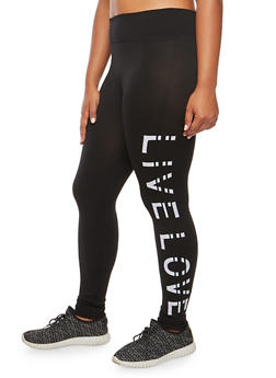 Plus Size Live Love Graphic Leggings - BLACK - 3969001442991