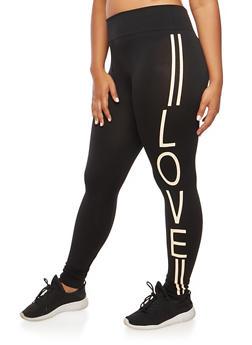 Plus Size Love Graphic Leggings - BLACK - 3969001443216