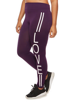 Plus Size Love Graphic Leggings - 3969001443216