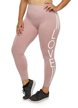 Plus Size Love Graphic Leggings - 3969001443216
