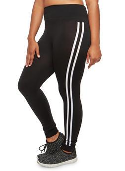 Plus Size Sport Graphic Leggings - BLACK - 3969001444133