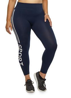 Plus Size Sport Graphic Leggings - 3969001444133