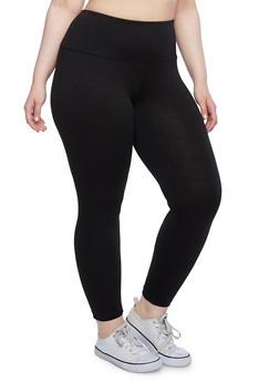 Plus Size Heathered Leggings with Mesh Foldover Waist - 3969038340021