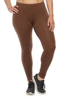Plus Size Solid Leggings - 3969054266161