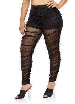 Plus Size Mesh Ruched Leggings - 3969058931113