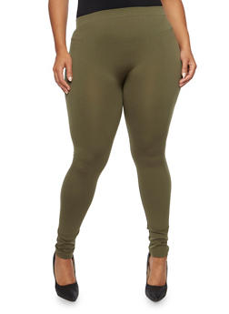 Plus Size Leggings with Fleece Lining - 3969061630009