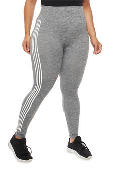 Plus Size Marled Leggings with Striped Details - 3969061630018