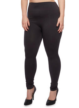 Plus Size Solid Knit Leggings - 3969061630039