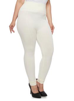 Plus Size Solid Knit Leggings - WHITE - 3969061630039