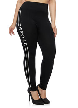 Plus Size Leggings with Sport Print - 3969061630049